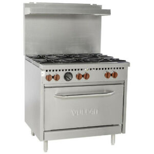 Nella - Commercial 6-Burner Gas Range with Oven - Brand New