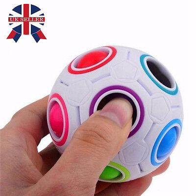 Magic Rainbow and White Spherical Ball Shaped Creative Cube Puzzle Twist Toy UK
