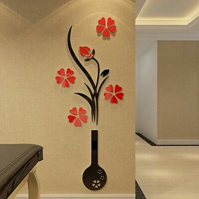 Home Decoration - 3D Flower Removable Acrylic Wall Mirror Stickers Home Room Art Decals Decor USA
