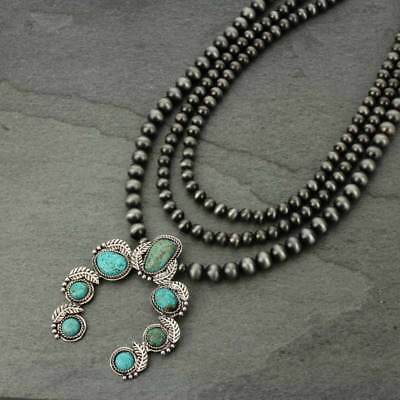 *NWT* Full Squash Blossom Natural Turquoise Necklace-7325410089