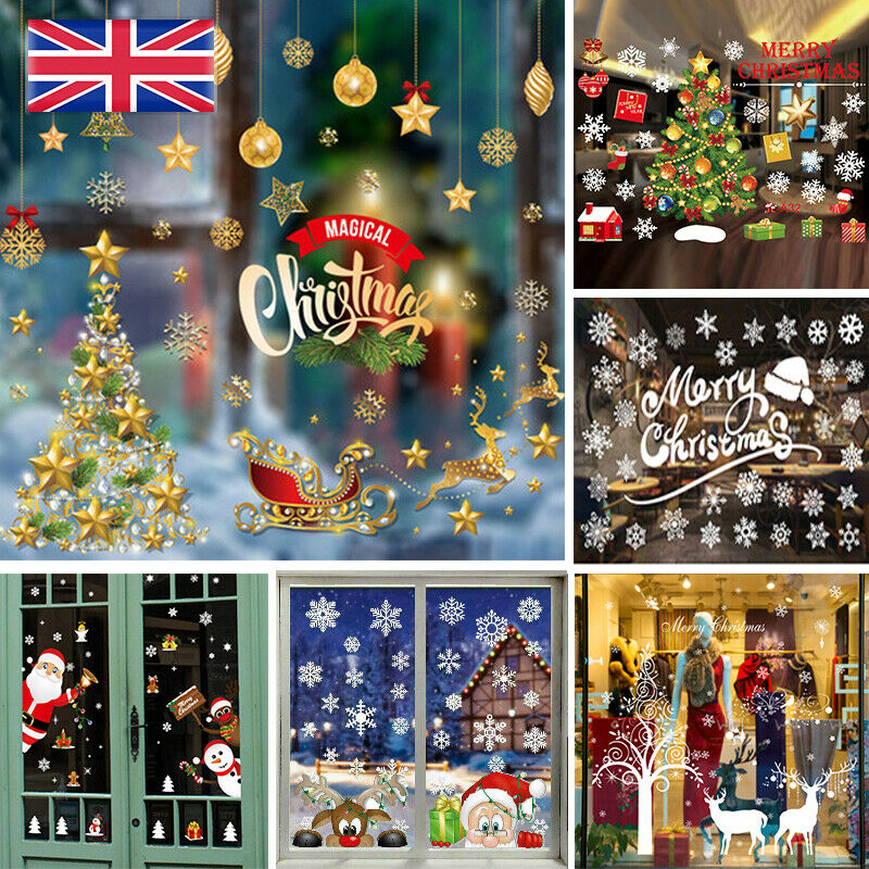 Home Decoration - Christmas Xmas Santa Removable Window Stickers Art Decal Wall Home Shop Decor Y