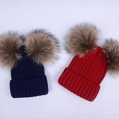 Parent Child Kids Real Raccoon Fur Double 2 Pom Pom Ball Knitted Hat Beanie Cap