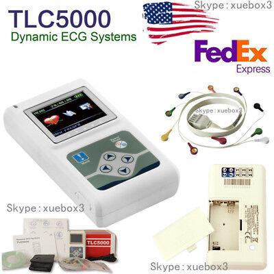 Ecg Ekg Machine Tlc5000 12-lead Hand-held 24 Hour Heart Monitoring Recorder Sw