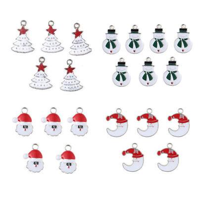 XMS Enamel Charm Christmas Tree/Snowman/Santa Claus/Moon Beads Pendant 10pcs