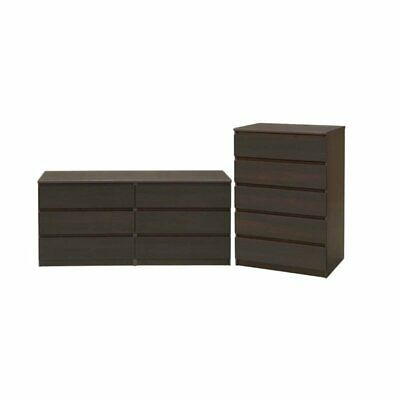 2 Piece Set with 6 Drawer Double Dresser and 5 Drawer Chest in -
