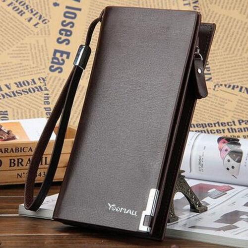 Men's Long Bifold PU Leather ID Card Holder Wallet Clutch Billfold Purse Brown