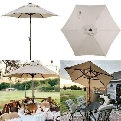 7.5 Ft. Round Outdoor Market Push Button Tilt Crank Lift Patio Umbrella Beige