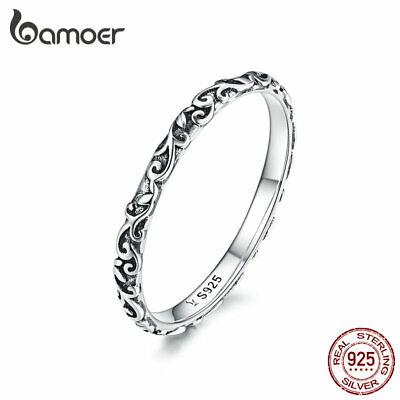 BAMOER Women Finger Ring S925 Sterling Silver Retro patterns fashion Jewelry