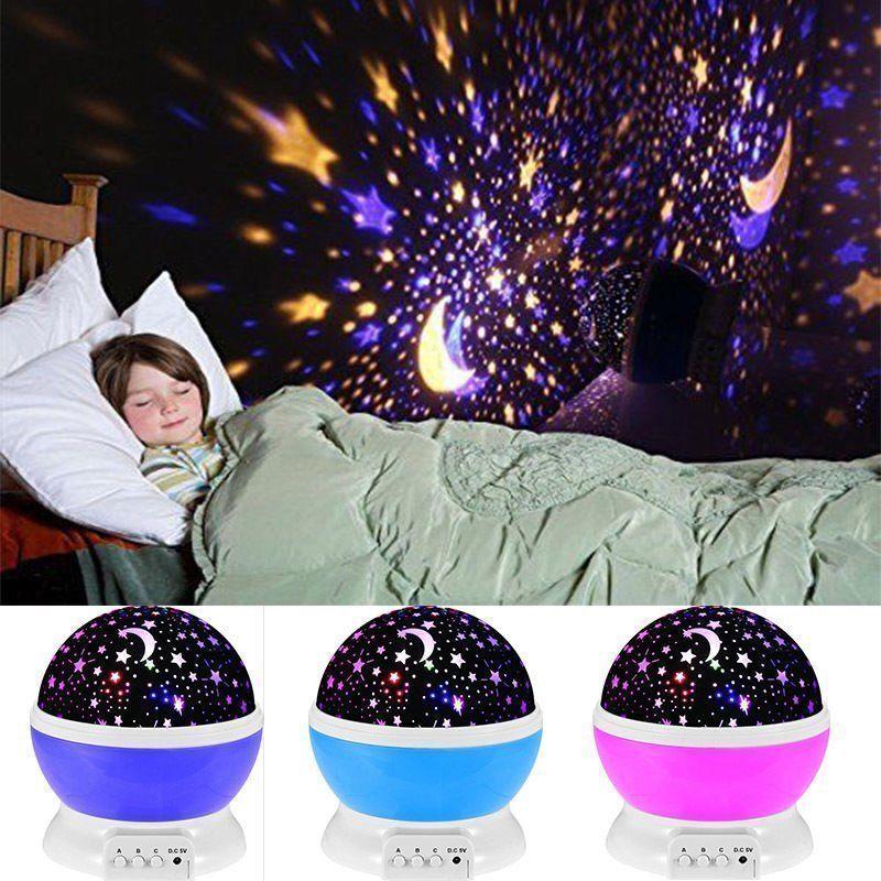 360° Kinder LED Sternenlicht Nachtlicht Einschlafhilfe Lampe 3 Drucktaster NEU