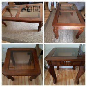 Solid wood with glass inserts coffee table & 2 end tables