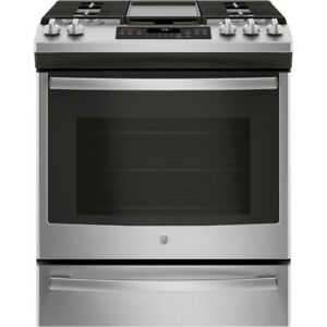 STOVE GE SELF CLEAN SLIDE-IN GAS STAINLESS STEEL OPEN BOX