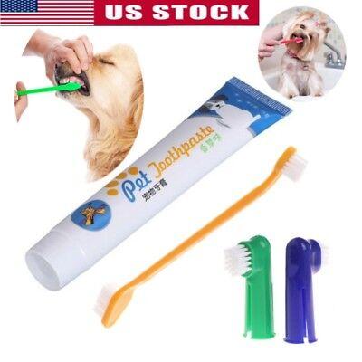 4Pcs Pet Dog Cat Puppy Toothbrush Toothpaste Back Up Brush Set Kit Teeth Care