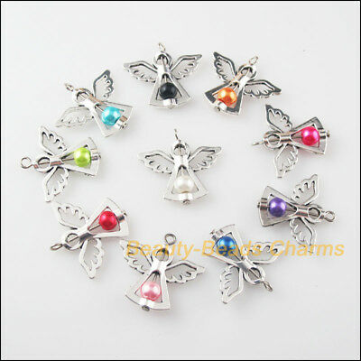 10 New Charms Mixed Glass Dancing Angel Wings Pendants 29x37mm - Angel Charms