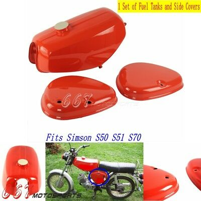 Red Steel Fuel Gas Tank & Side Cover Toolbox Intake Lid For Simson S50 S51 S70