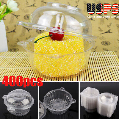 400x Clear Plastic Cupcake Box Single Cake Case Muffin Pod Dome Holder Container - Single Cupcake Boxes