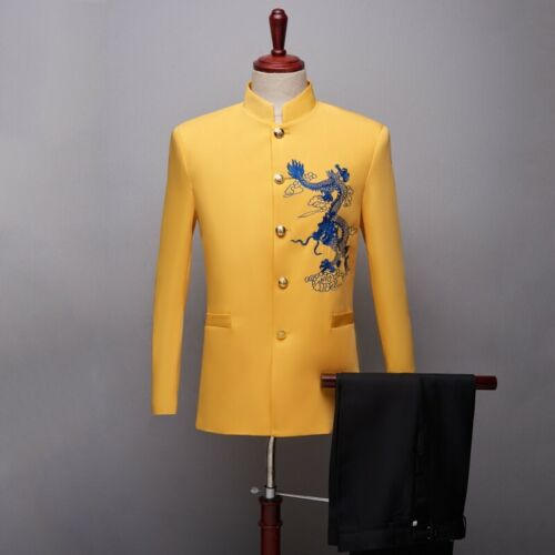 oneforus Mens Chinese Tunic Suit Casual Stand Collar Slim Blazer for Office Wedding Host Speech