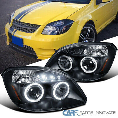 For 05-10 Chevy Cobalt Pontiac G5 Pursuit LED Halo Black Projector Head Lamps