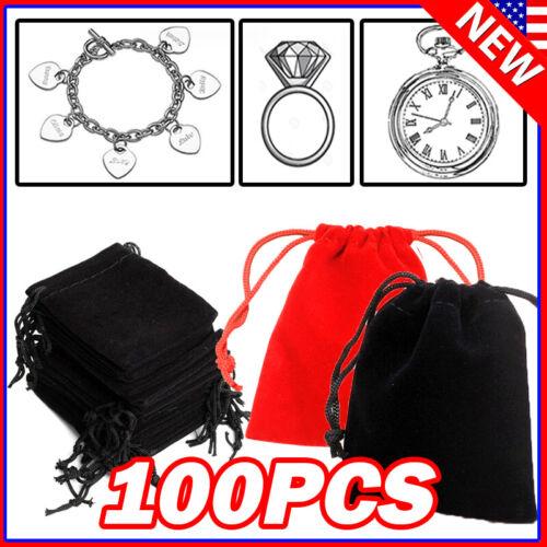 Lot Black Velvet Drawstring Velour Pouch Jewelry Baggie Ring Gift Bag Pouch Sets