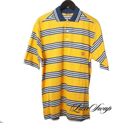 NWT Paul & Shark Yachting Made in Italy Gold Blue White Stripe Polo Shirt L NR