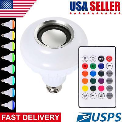 12W E27 Rgb Bluetooth Led Light Speaker Bulb With Wireless Music Playing Remo