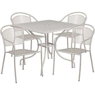 35.25 Square Light Gray Indoor-outdoor Patio Resturant Table Set W4 Chairs