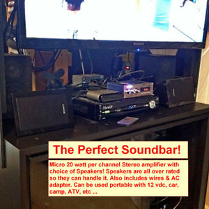 Mini HiFi Stereo System, lots of inputs! Can be portable 12vdc