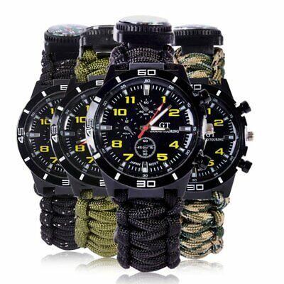 Outdoor Survival Watch Bracelet Paracord Compass Flint Fire Starter Whistle (Best Flint Fire Starter)