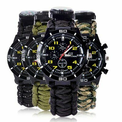 Outdoor Survival Watch Bracelet Paracord Compass Flint Fire Starter Whistle Best - $8.83