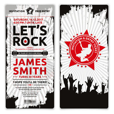 Rock And Roll Birthday Invitations (Invitation Cards Invite Birthday VIP Concert Pass Ticket - Rock and)