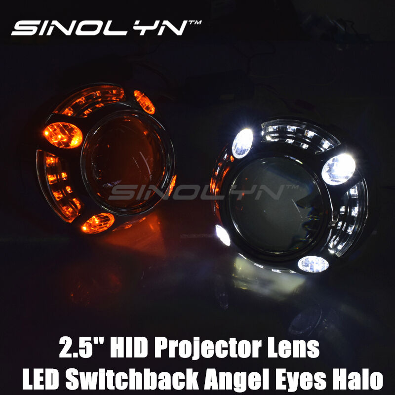 LED Angel Eyes Halo Mini 2.5/'/' HID Projector Lens H1 Switchback DRL Turn Signals