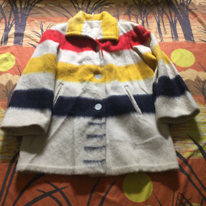 vintage 50s HUDSONS BAY COAT striped wool blanket jacket
