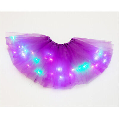 Leuchtend Licht LED Kid Girl Tüll Tutu Rock Party Kostüm Ballet Tanz Tragen Gift