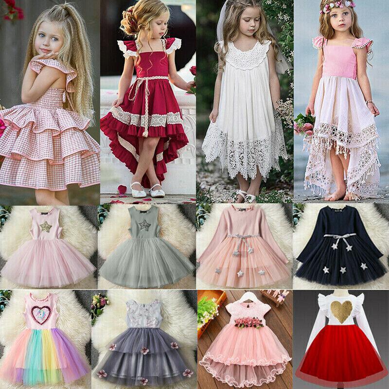 Kinder Mädchen Baby Blume Prinzessin Party Hochzeit Tüll Festkleider Abendkleid