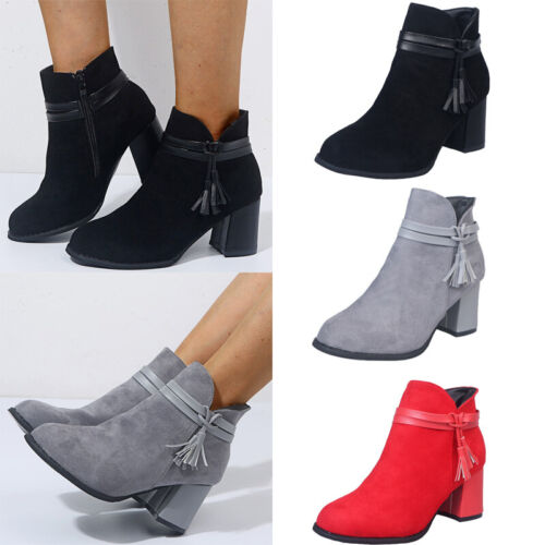 New Ladies Ankle Mid High Faux Suede Style Boots Block Heel Women Casual Shoes