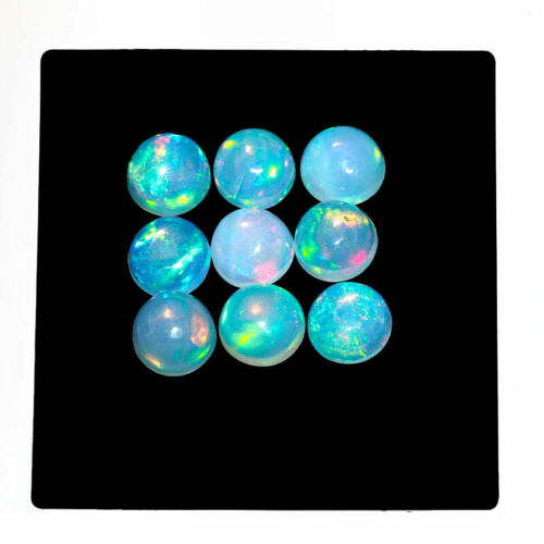 9 Pcs/9mm Natural Opal Ethiopia Flashy Top Quality Round Cabochon Gemstones Lot