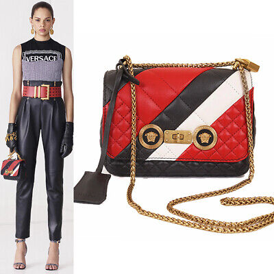 NEW $2195 VERSACE RUNWAY Icon GOLD MEDUSA Black Red QUILTED LEATHER Chain BAG