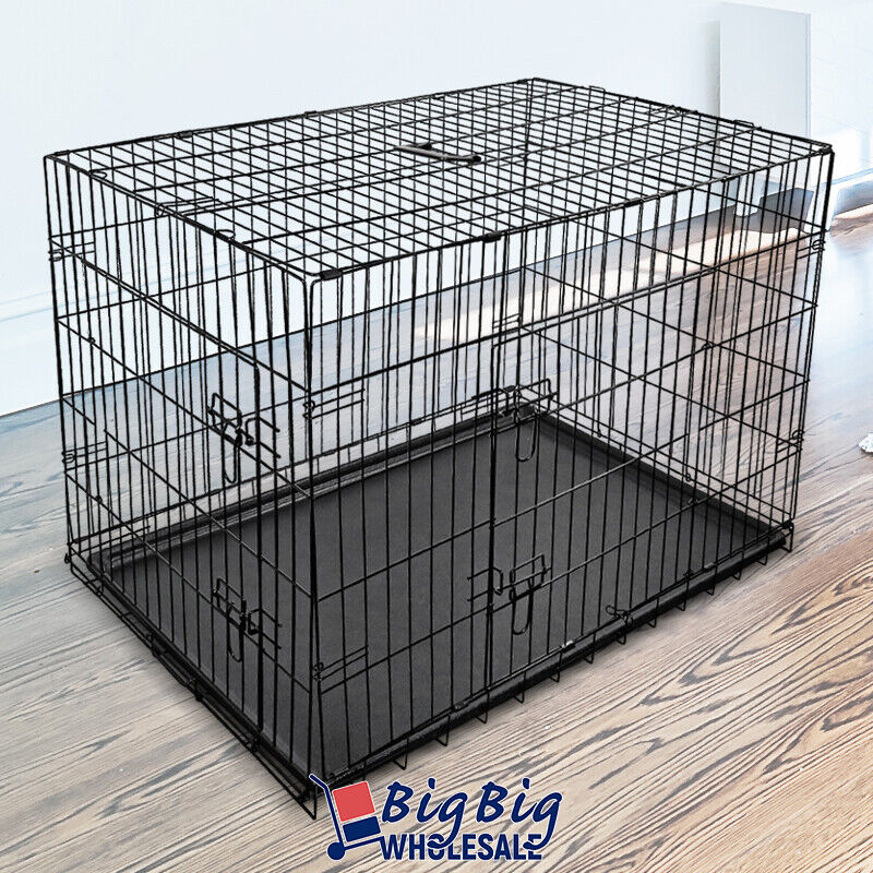 """42"""" [Large] Portable Folding Black Dog Crate Pet Cage Pen Kennel 2-Doors w/Tray"""