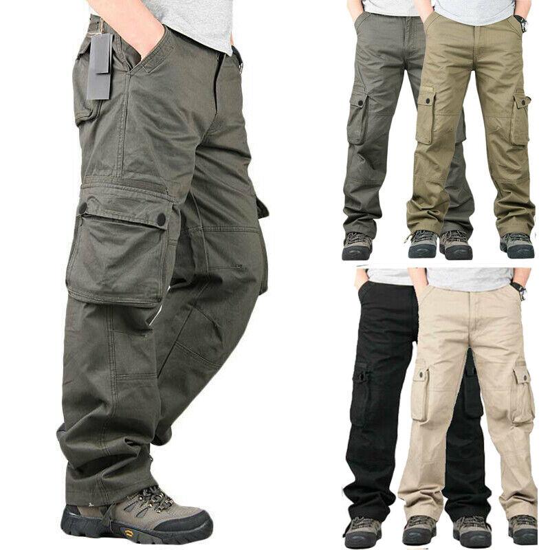 Men Outdoor Cargo Tactical Combat Pants Waterproof Work Hiki