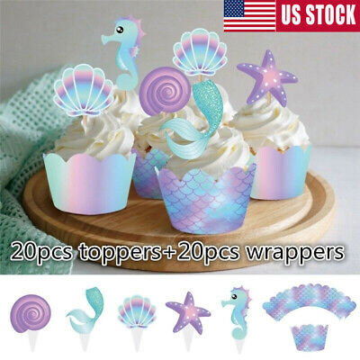 40Pcs/lot Mermaid Cake Wrappers Cupcake Toppers Baby Shower Party Cupcake Supply