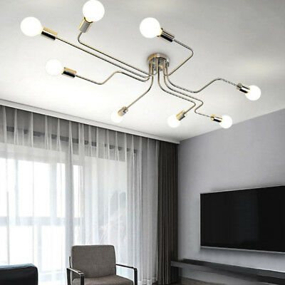 8-Light Modern Polish Chandelier Industrail Semi Flush Mount Ceiling Fixture