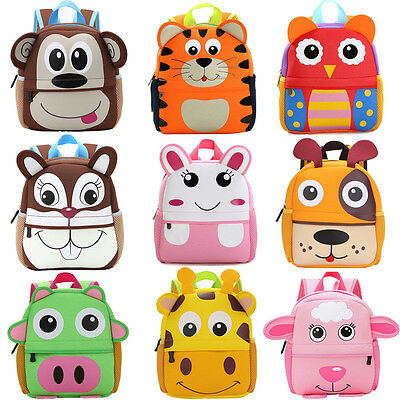 Cute Kid Toddler Backpack Kindergarten Schoolbag 3D Cartoon Animal Bag