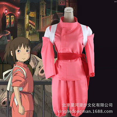 Spirited Away Chihiro Ogino Red Halloween Kimono Suit Cosplay Costume X001](Spirited Away Halloween Costume)