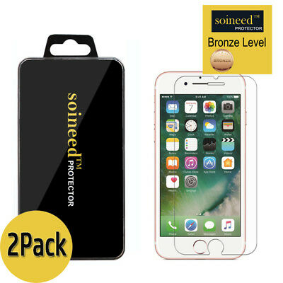 ([2-Pack] SOINEED iPhone 7 / 7 Plus Tempered GLASS Screen Protector Bubble Free)