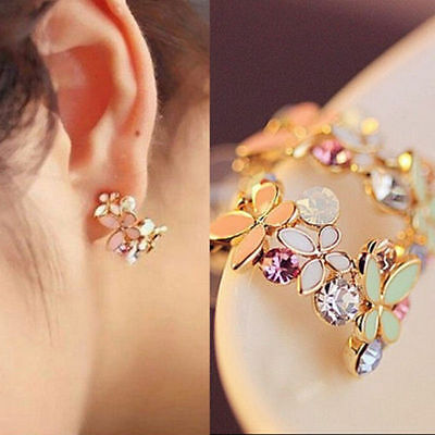 New Fashion 1 Pair Women Lady Elegant Crystal Rhinestone Ear Stud Earrings Earrings