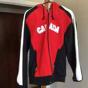 CANADA Red Sports Jacket With Attached Hood