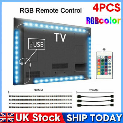 USB TV Back Light RGB Backlight LED Lights 4 Strips Background  with Remote 5V