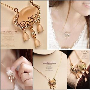Opal stone & Rhinestones Necklace
