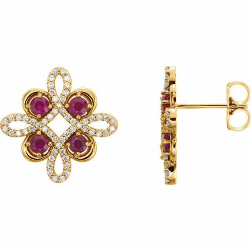 Details About Ruby 1 4 Ct Tw Diamond Earrings In 14k Yellow Gold