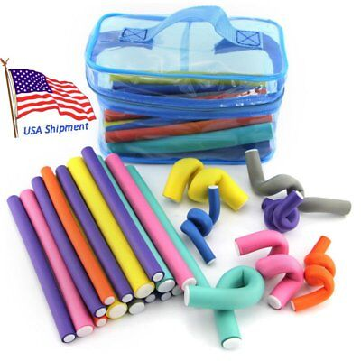 USA 42 Pack Magic Twist Flex Flexi Rods Foam Hair Curlers Styling Tools OY
