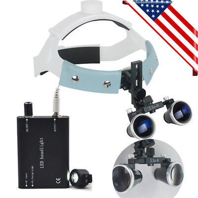 Dental Headband Surgical Binocular Loupes 3.5x-r Magnifier Led Head Light Lamp